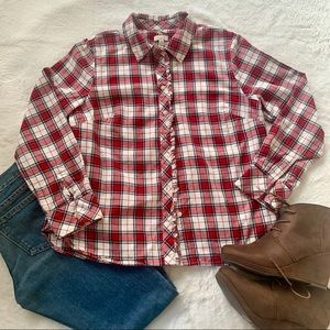 Talbots red and white plaid button down shirt